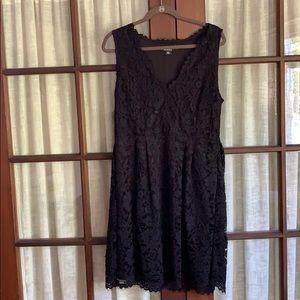 DKNY V-Neck Fit & Flare Lace Dress